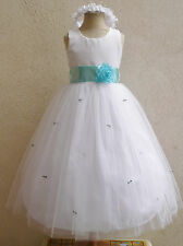 NEW WHITE AQUA/POOL BLUE FLOWER GIRL INFANT PARTY DRESS