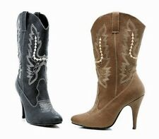 COWGIRL COWBOY WESTERN RIDING ANKLE MID-CALF BOOTS HEEL