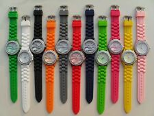 Cool Zebra Geneva Silicone Jelly Watch Crystals on Bezel Multi Colors to Choose