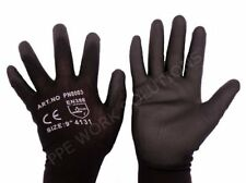 12 Pairs Of PWS Black Nylon PU Safety Work Gloves Gardening Builders Grip New