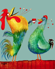 1595 Rooster and hen in love Vintage POSTER. Animal animated Decorative Art.