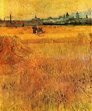 """Vincent Van Gogh- Arles View from the Wheat Fields - 20""""x26"""" Art on Canvas"""