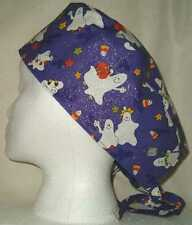 SURGICAL SCRUB HAT SKULL CAP MADE W HALLOWEEN FABRICS YOU PICK MEDICAL NURSE