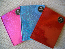 A6 Notebook Ruled Hard Back Bound Note Book Holographic Design Pink Blue Red