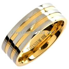 Titanium 18k Gold Plated Wedding Ring Band Comfort Fit Sizes 6 - 15  CLEARANCE
