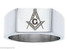 New Men's 9.75mm Stainess Steel Masonic Freemason Mason Blue Lodge Ring