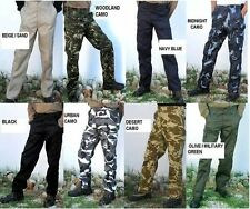 "MENS ARMY STYLE CARGO PLAIN and CAMO COMBAT TROUSERS  WAIST SIZES -   30"" - 50"""