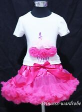 Hot Pink Full Pettiskirt with Hot Light Pink Rose Birthday Cake Tank Top 1-8Y