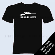Head Hunter T Shirt Sniper Shooter  Warfare Online FPS Gamer Christmas Gift Tee