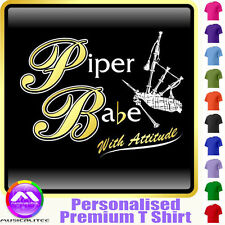 Bagpipe Piper Babe With Attitude - Custom Music T Shirt 5yrs - 6XL MusicaliTee