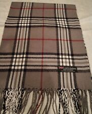 New 100% Cashmere Scarf Gray Red Black Check Plaid Scarf Scotland Wool