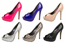 WOMENS PEEPTOE PLATFORM HIGH HEELS LADIES SHOES SZ 3-8