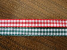 3 x METRES BERISFORDS GINGHAM RIBBON-10MM WIDE-VARIOUS COLOURS-NEW
