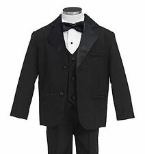 GINO GIOVANNI Boy Kids Black Usher Tuxedo Tux Suit Set Size From Baby to Teen