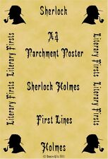 A4 Parchment Poster Sherlock Holmes Conan Doyle First Lines Moriarty