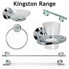 WALL MOUNTED CHROME BATHROOM ACCESSORIES WITH CONCEALED BRACKETS CHOICE OF 7