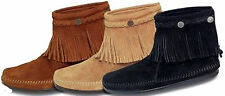 Minnetonka Hi Top Zip Back Boots Suede Leather/Conchos/Fringe - NEW IN BOX