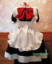 Japanese Girl Maid uniform Cosplay Black Big Red Bowknot lolita Costume Dress