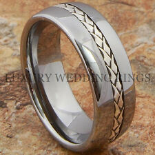 Tungsten Mens Ring Wedding Band Silver Braid Inlay Titanium Color Size 6-13