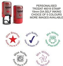teacher - school stamp personalised - self inking rubber asstd designs & colours