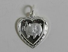 Chinese Zodiac Horoscope Sterling Silver Round Rectangle Heart Boar Pig Pendant
