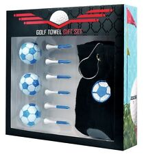Golfers Football Gift Set - Three Football Golf Balls, Golf Towel and Tees