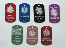 Personalized Medical Alert Diabetes Autism Tag - Free Custom Engraving