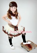 Cream Brown Leopard Pettiskirt with White Pettitop Top in Brown Rosette Set 1-8Y