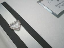 Personalised Diamante Heart 02 Wedding Guest Book - White & Ivory + 2 sizes