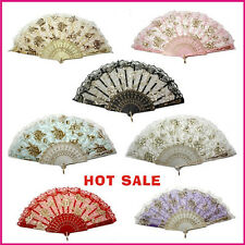 Ladies Silk Embroidered folding Hand Fan lace cloth fans w/ golden roses 7 color
