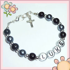 Boys Personalised Communion Confirmation Page Boy Bracelet Cross Charm Gift BR25