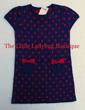 NWT Gymboree HOMECOMING KITTY Blue Red Polka Dot Sweater Dress 4 5 4T 5T