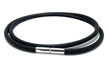MENS / LADIES RUBBER NECKLACE - 3mm - STERLING SILVER PUSH & TWIST CLASP