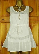 NEW EX MISO LADIES WHITE COTTON EMBROIDERED SUMMER SLEEVELESS TOP  SIZES 8 - 14