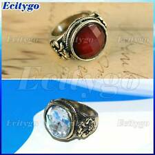 Retro Vintage Bronze Red Carved Stone Gem White Pearl Ring