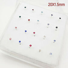1Pack 20PCS  925 Sterling Silver Nose Stud With Crystal Nose Ring Wholesale Lot