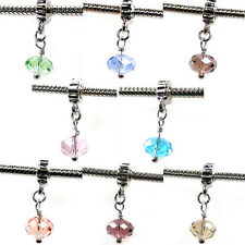 Wholesale 8pcs Silver Crystal Dangle European Charm Beads For Bracelet Necklace