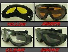 MOTORCYCLE GOGGLES FIT OVER PRESCRIPTION GLASSES CHOICE LENSE COLOR 2 PAIR