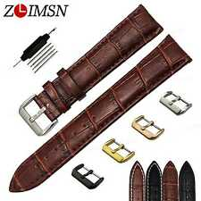 Brown Black Genuine Leather Watch Band Strap Stainless Steel Buckle 12mm ~ 26mm