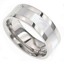 New 8mm Mother Of Pearl Inlay Pip Cut Titanium Shiny Band Men's Wedding Ring
