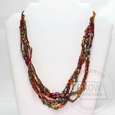 """Hand-Crocheted Washable 12-24"""" Multi-Colored Trellis Ribbon Necklaces"""
