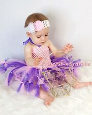 Baby HANDMADE Pink Grape Tied Knotted Tulle Tutu Pink Crochet Tube Top SET 0-24M