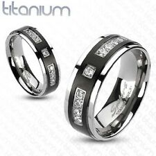 Solid Titanium Men's Ring Black IP Center with Multi CZ Engagement Wedding Band