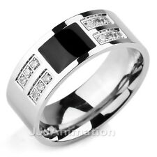 Size7,8,9,10,11,12,13 Silver Black Classic CZ Stainless Steel Men Ring VE405