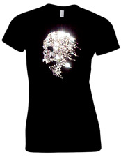 LADIES GOTH SKULL BIKER DIAMANTE CRYSTAL DESIGN FITTED T SHIRT(ANY SIZE 8 TO 18)