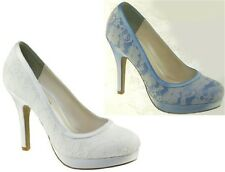 NEW Bobbie Bridal Bridesmaid Prom Pageant Platform Pumps White Satin Lace 5-11