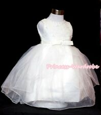 Pure White Gown Wedding Party Skirt Bridal Chlid Flower Girl Dress 2-8Year PD008