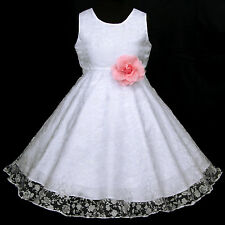 Pink Pure White piw468 UkG Bridesmaids Flower Girls Dress Wedding Party 2,3-12y