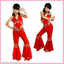 Kids Girls Belly Dance Top+Pants Set Outfit Coins Bollywood Dancing Costume AC08