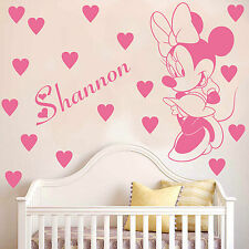 MINNIE MOUSE | Wall art sticker decal hearts and personalised name | kids bed K9